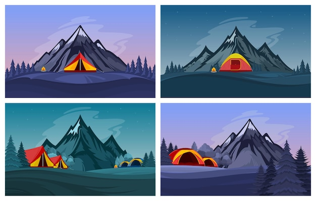 Wilde natuur kampeerlandschappen in de bergen