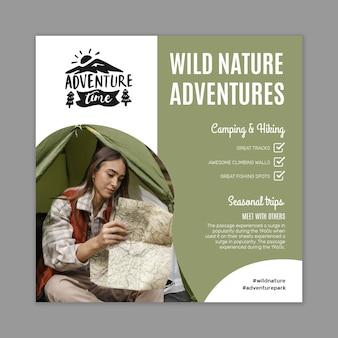 Wilde natuur kwadraat flyer-sjabloon