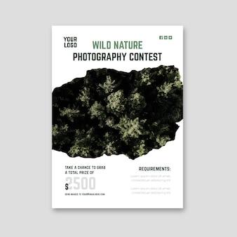 Wilde natuurfotografie wedstrijd flyer print sjabloon
