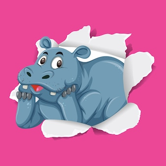 Wilde nijlpaard op roze papier