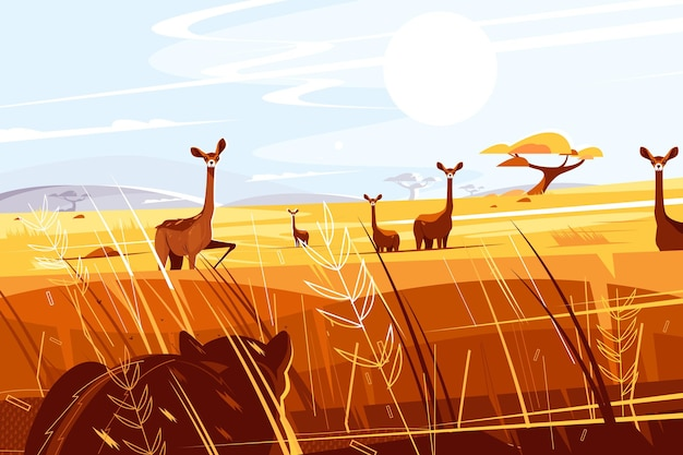 Wilde pittoreske savanne illustratie.
