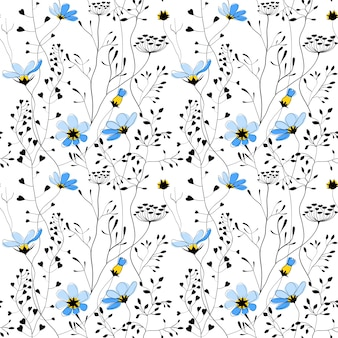 Wilde planten en blauwe bloemen naadloos patroon