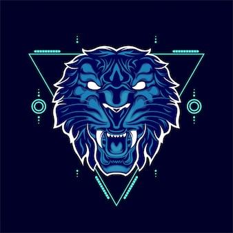 Wilde tijger hoofd blauwe kleur met abstracte geometrische ornamenten