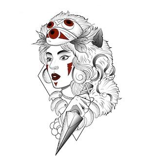 Wilde vrouw gemaskerde jager met een mes