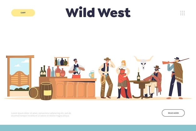 Wilde westen concept met cowboy en land mensen in bar gekleed in westerse kleding