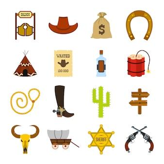 Wilde westen cowboy vlakke elementen instellen voor web en mobiele apparaten