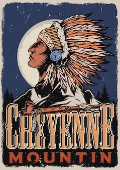 Wilde westen kleurrijke poster
