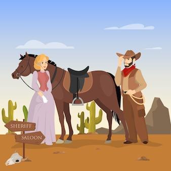 Wilde westen landschap. cowboykarakter met paard