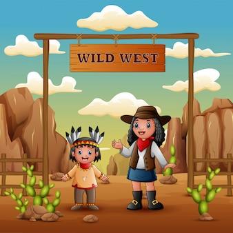 Wilde westen met jonge afrikaanse cowgirls en indiase meisje