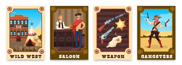 Wilde westen set illustraties