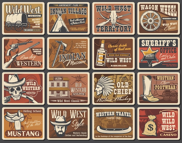 Wilde westen vector posters, cowboy retro kaarten set