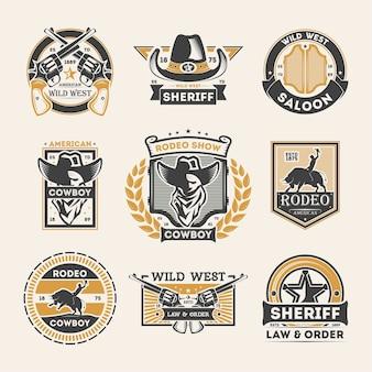 Wilde westen vintage geïsoleerde label set