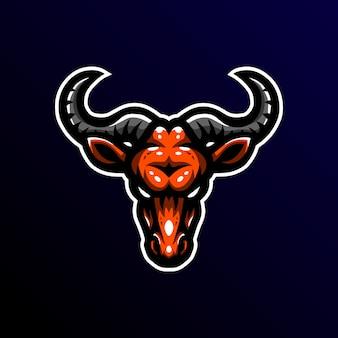 Wildebeest mascotte logo esport gaming illustratie