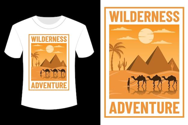 Wildernis avontuur t-shirt design vintage retro