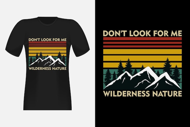 Wildernis natuur handgetekende stijl vintage retro t-shirt design