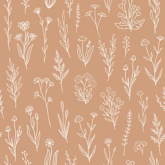 Wildflower naadloos patroon met overzichts bloemen. printontwerp in retro-stijl met handgetekende doodle bloemen in rustieke kleuren. eenvoudige veldbloempatronen voor behang, verpakking, stofontwerp
