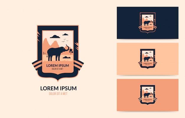 Wildlife logo met wandelende olifant, outdoor avontuur concept