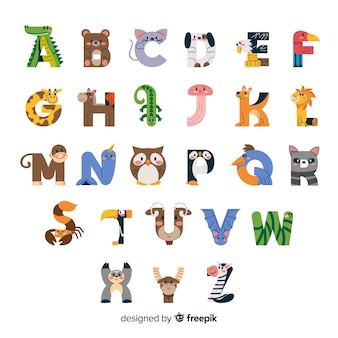 Wildlife minimalistische wezens in alfabet