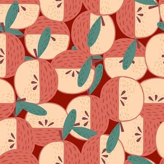 Willekeurig abstract naadloos fruitpatroon met appels. rood en roze gekleurde cartoon print. voorraad illustratie. vectorontwerp voor textiel, stof, cadeaupapier, behang.