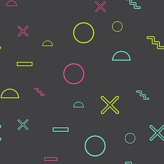 Willekeurig geometrisch vormpatroon, abstracte achtergrond in retrostijl van de jaren 80, 90. kleurrijke geometrische illustratie
