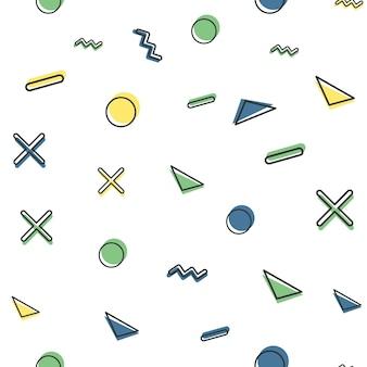 Willekeurig geometrisch vormpatroon in retrostijl uit de jaren 80, 90. abstracte geometrische achtergrond