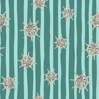 Willekeurig grijs schip wiel elementen naadloze doodle patroon. blauw gestreepte achtergrond. handgetekende stijl.