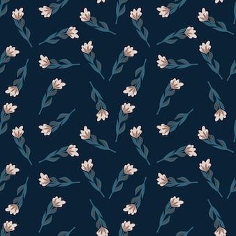 Willekeurig naadloos bloemenpatroon met kleine vintage eenvoudige bloemsilhouetten
