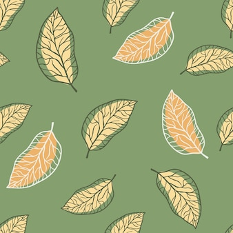 Willekeurig pastel palet naadloos bladpatroon. overzicht gestileerd ornament in oranje kleur op groene achtergrond.