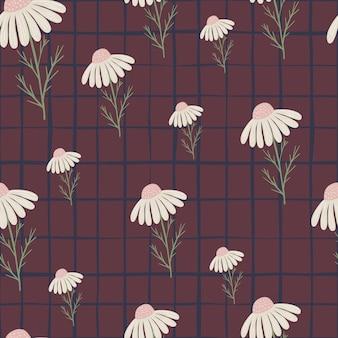 Willekeurige witte madeliefjes bloemen naadloos patroon in florale stijl