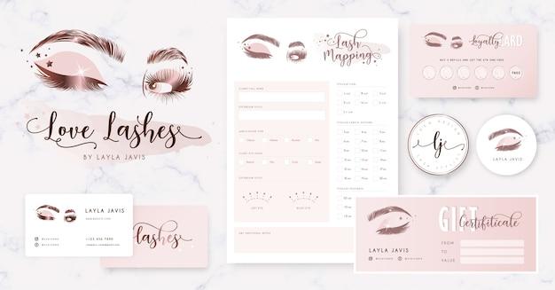 Wimperbranding met logo, visitekaartje
