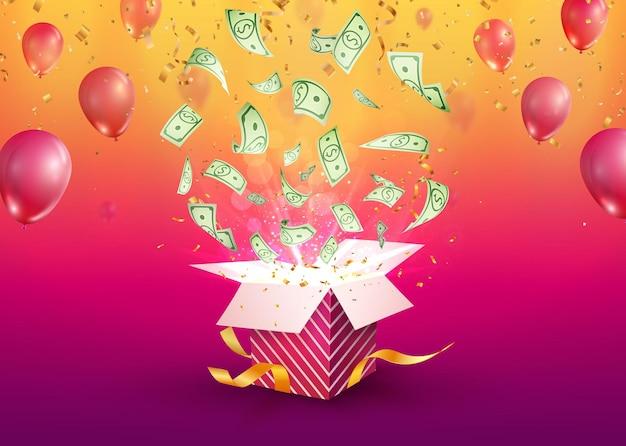 Win geld vector illustratie gokken reclamebanner open getextureerde geschenkdoos met dollar