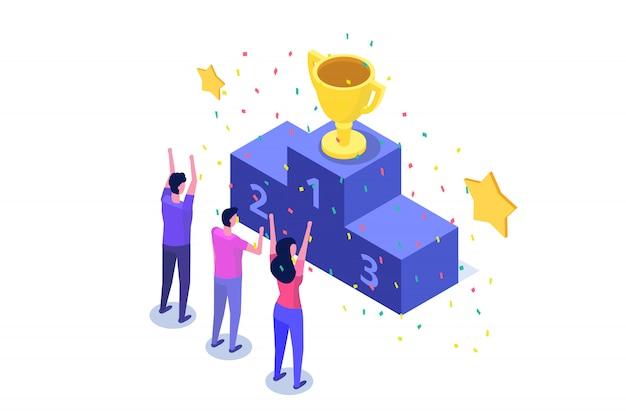 Win, isometrische winnaar business, succes en prestatie concept met karakters.
