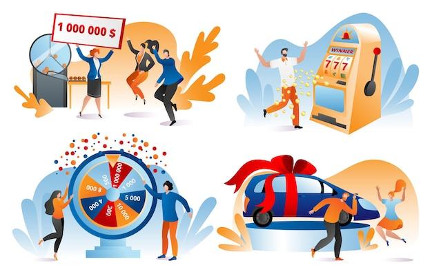 Win loterijprijs, fortuinwinnaars set illustraties. gelukkige mensen met een bankcheque van miljoen dollar. winnende loterij, prijs, auto. gokken, casino kans om te spelen en te winnen.
