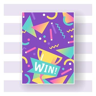 Win trofee met heldere lijnen, stippen en geometrische vorm