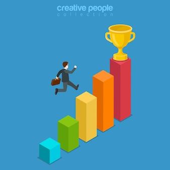 Win trofee-succesbeweging door obstakel plat isometrisch