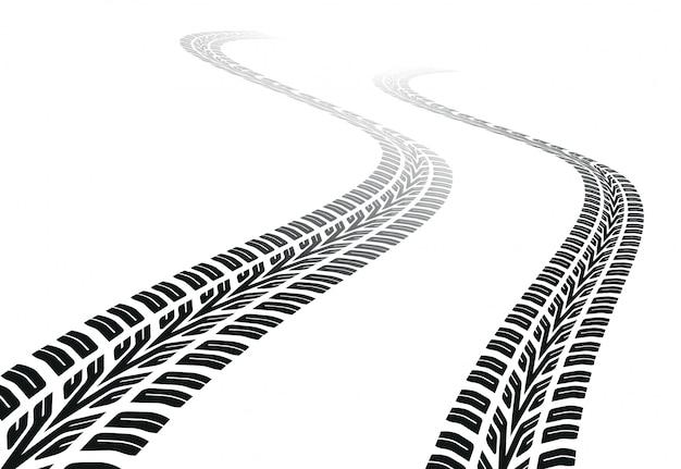 Windend spoor van de banden
