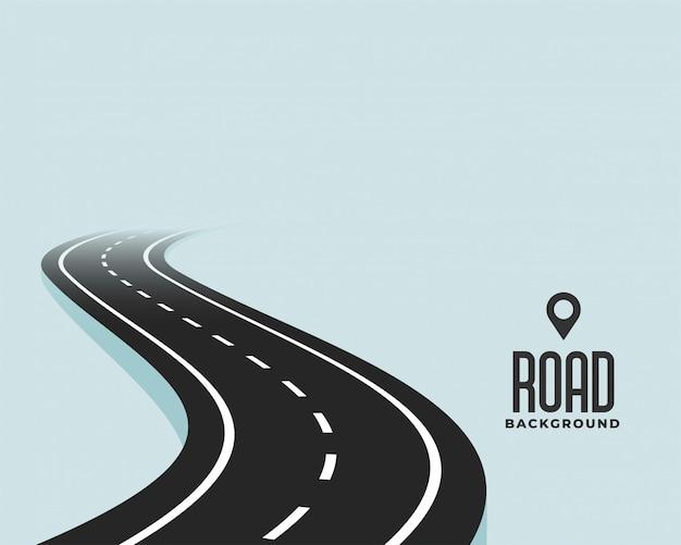 Windende de wegachtergrond van de kromme zwarte weg