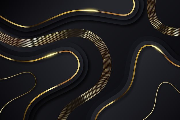 Windende gouden lijnen op donkere achtergrond