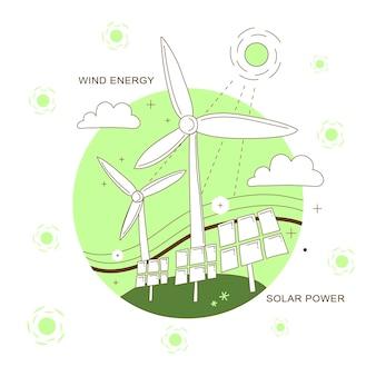 Windenergie en zonne-energieconcept in dunne lijnstijl