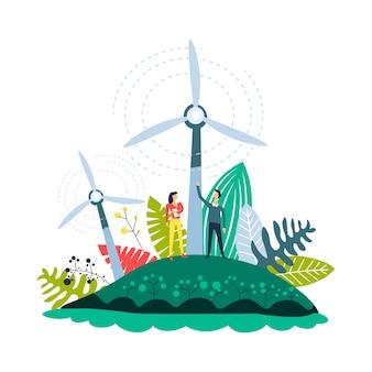 Windenergie plantages windmolens en planten ingesteld