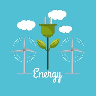 Windkracht met stroomkabel naar milieuzorg