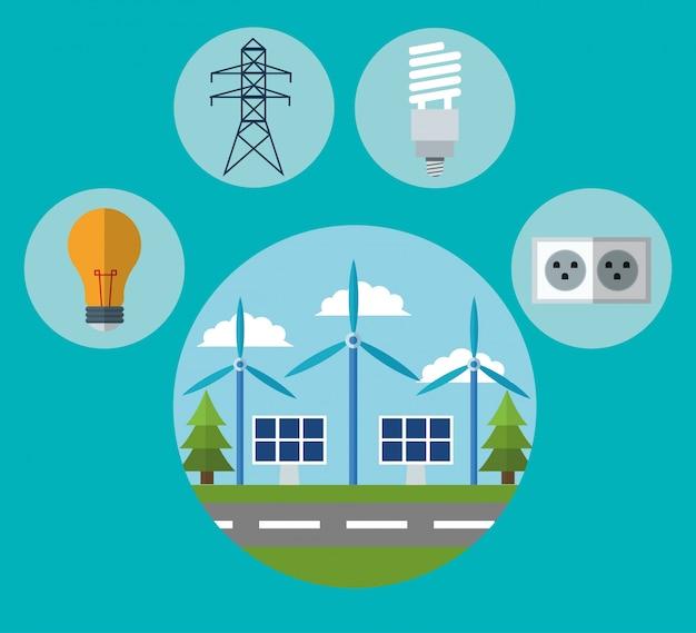 Windmolen zonnepaneel lamp energietoren en plug pictogram