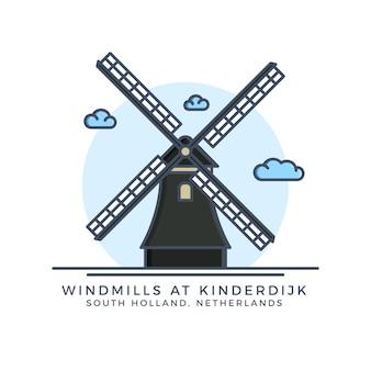 Windmolens op kinerdijk