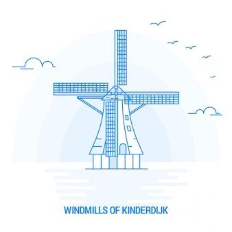 Windmolens van kinderdijk blue landmark