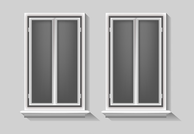 Windows illustratie, geïsoleerde concept sjabloon set element leeg, lege achtergrond vintage, frame realistische moderne objecy glazen kamer