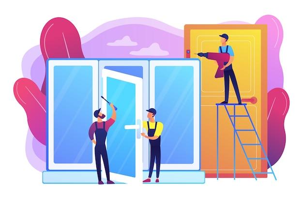 Windows-installatie en reparatie. diensten voor ramen en deuren, vervanging en installatie, aannemersconcept voor vervanging van ramen en deuren.