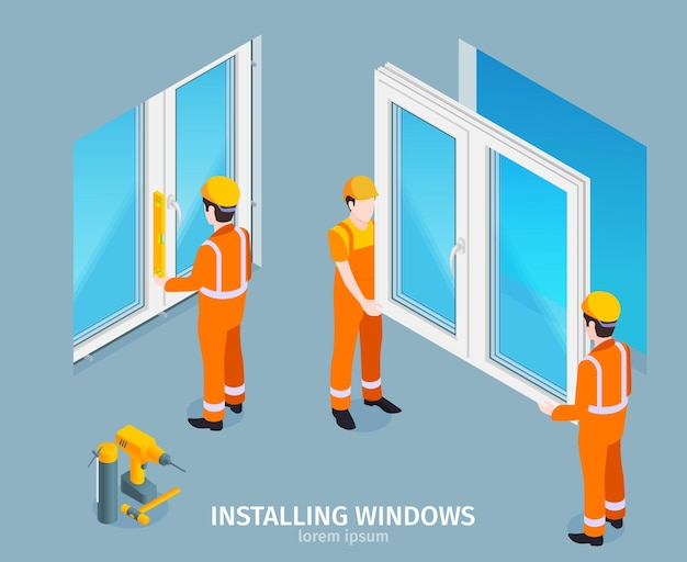 Windows isometrische illustratie installeren
