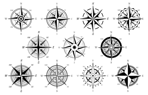 Windroos mariene windrozen kompas nautische navigatie zeilen symbolen