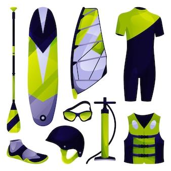 Windsurfuitrusting sport gereedschap set vector icon