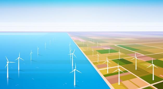 Windturbine energie hernieuwbare water station veld achtergrond